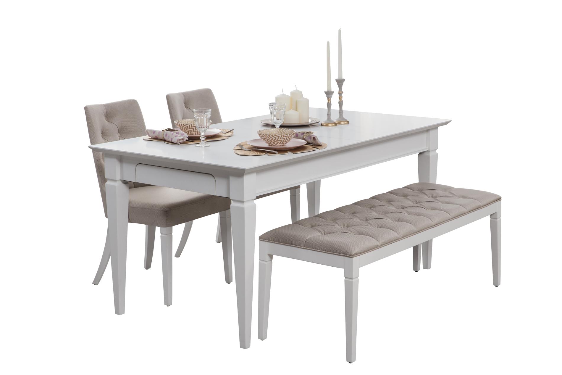 Angel  Beyaz Açılır Yemek Masası