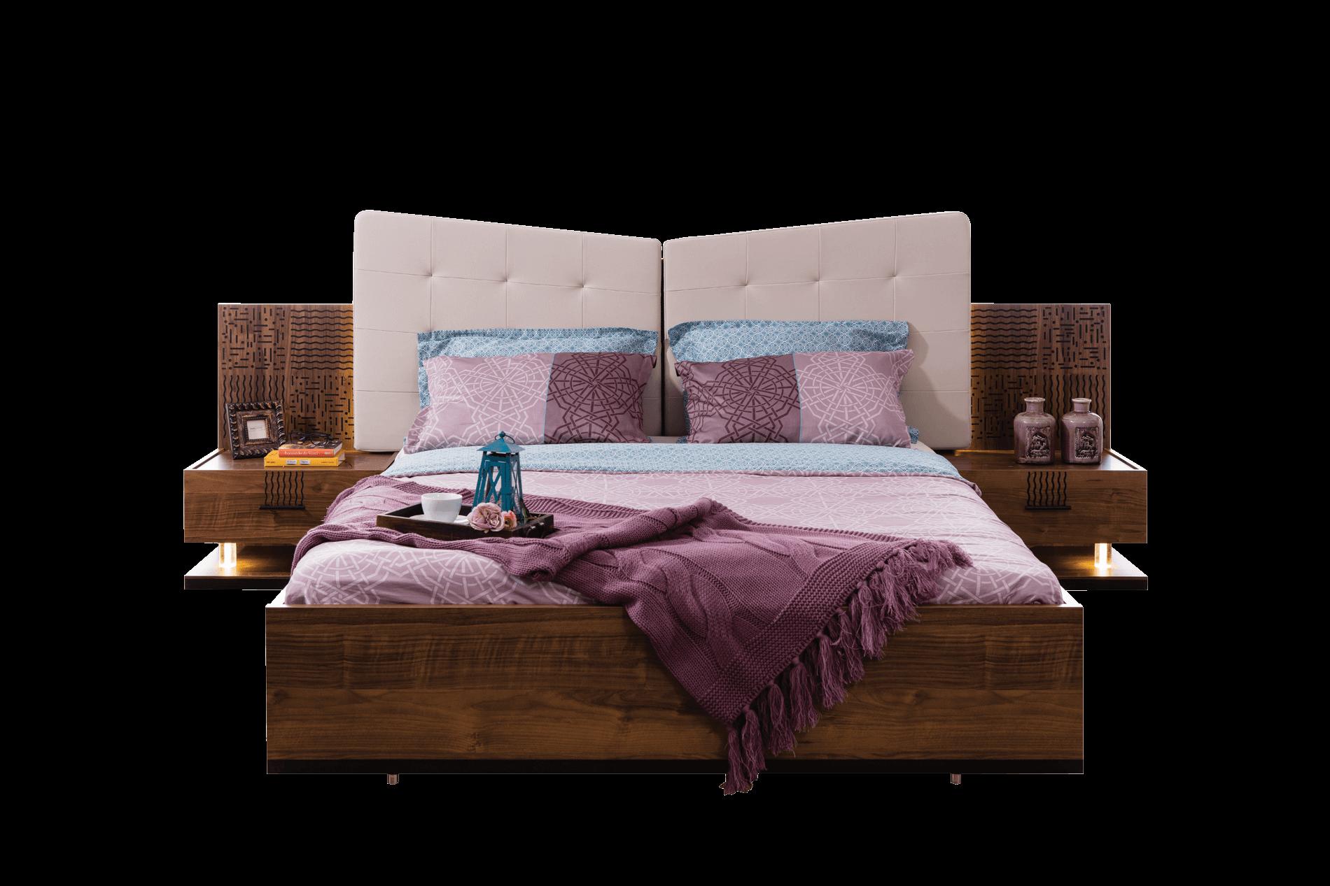 Piramit Yatak Odası Bazalı Karyola + Başlık
